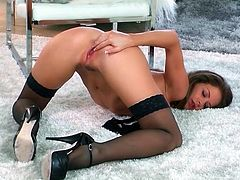 Soft black stockings and heels on Emily Addison
