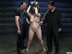 Blonde with big boobs and ass gets tortured. Later on this blindfolded girl sucks a cock and gets jizzed on.