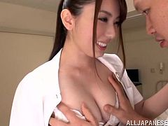 Sexy Japanese bitch Yui Hatano is playing dirty games with some guy. They make out ardently and then bang in cowgirl and other positions on a couch.