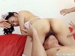 See all the fun Risa Tachibana is having in this video where she gets three dudes to please her! She sucks, fucks and gets loads of cum!