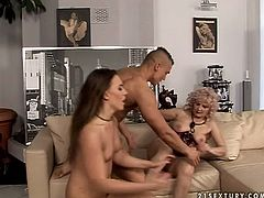 21 Sextury xxx clip provides you with a mad but hot threesome. Dirty-minded brunette with flossy appetizing ass goes nuts and eats the disgusting old pussy of grey haired lady in corset. Then both bitches get their cunts pounded by strong horny stud.
