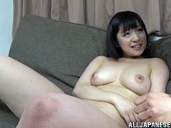 Nasty Japanese chick Wakaba Onoue moves her legs wide open and shows her hairy snatch to her man. The dude pleases the slut with fingering and then drills her cunt doggy style.