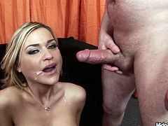 Gorgeous and cock hardening blondie with big tits and smooth rounded butt is ready to be fucked missionary tough. Appetizing curvy and boobalicious girlie begs to fill her mouth full with sticky sperm after being pounded hard.