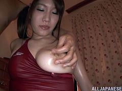 OIled up POV with a candy Japanese babe