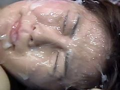 These hotties love to have their faces filled with cream during hot japanese bukkake scenes