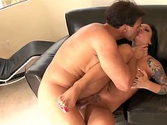 This busty and booty brunette is a great pro in sucking a dick. Amazing and surely sexy owner of flossy ass and sweet big tits has nothing against the overused missionary fuck to get her wet pussy polished properly for orgasm right on the couch.