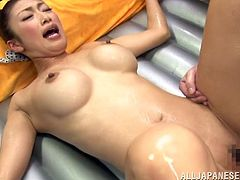 Lovely Japanese girl helps some dude to take a bath. Then she gives him a blowjob and a titjob. After that she gets fucked and jizzed on her tits.