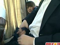 These Japanese schoolgirls are on a bus. Several men force them individually to give them handjobs.