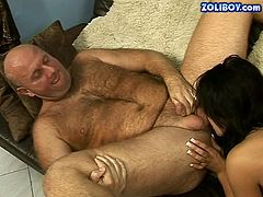 Frisky brunette babe is licking old man's ass hole and massages his prostate with her tongue. When old grandpa cums he messes her face up with huge load.
