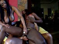 Dark-skinned babes are more than just good friends! Lascivious lesbians with big tits rimming each other's snatches using a dildo! No one gets left behind, so there's also plenty of strap-on action going on.