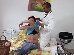 Perverted Doc is examining throbbing wet pussy of lustful mature woman. He is wearing elastic gloves while fisting old lady.