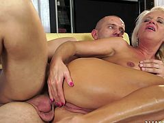 Provocative porn clip of ash blonde granny getting screwed hard in her butt hole. She is rammed deep in gaping asshole in a doggy position.