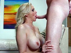 Watch this blonde mature woman get facefucked nice and hard. Her man shoves her face down onto his cock and the dirty mature slut deepthroats it. She chokes on his penis and is drooling a lot.