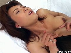 Fresh faced Japanese slut Miri Sugihara gets fucked both in her mouth and pussy