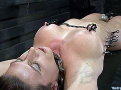 Gorgeous babe gets tied up and fingered in her juicy vagina. Later on she gets her tits and pussy tortured with clothespins. After that she also gets toyed with big dildo.