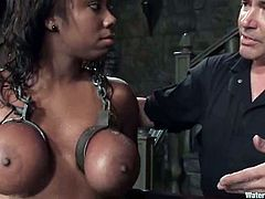 This is one of the hottest and most interesting water bondage scenes on our BDSM category! Candace Von is that ebony that stands it all!