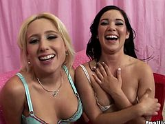 Sammie Spades and Amy Starz flash their small titties
