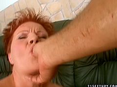 Voracious old woman is going wild and naughty in filthy porn clip. She sucks hard stick intensively while small vibrator is working her throbbing vagina.