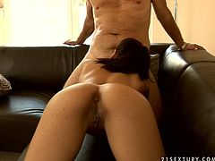 Hot blooded Latin whore stands in doggy pose giving blowjob to strain dick before she stands doggy to get fucked up from behind in peppering sex video by 21 Sextury.
