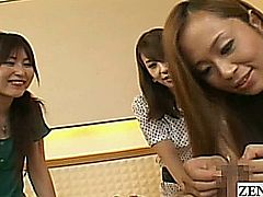 Absolutely bizarre Japanese CFNM via the wonderful POV angle combining teasing and light femdom as a group of clothed amateur women led by a quirky and curious host take turns sipping orange juice out of the foreskin created cup of a naked and quite erect man with English subtitles