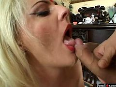 This is must be the most slutty and freaky waitress you have ever met in a bar. Raunchy blonde hooker fucks the visitor right on a floor in a bar. She gets banged hard in her ass. Later perverted dude fills her mouth with cumshot.