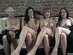 Superb girls take their clothes off and then lick each others pussies. Later on they toy their asses and fuck one another with a strap-on.