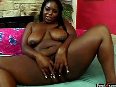 Chyna white strip teases in front of the camera. First she shows her big saggy boobs. Then she takes off her panties exposing wet pussy and ample booty. She plays with her clam sitting on a couch with her legs wide open.