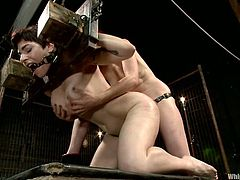 Brunette chick with big boobs gets tied up with ropes and straps. After that she gets her ass fingered and toyed deep.