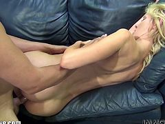 Check out this innocent blondie getting her muff eaten and begging for his cock. She takes it up her tight pussy for a huge cumshot!