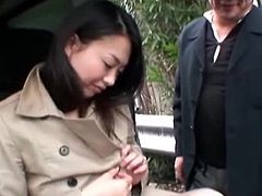 This kinky big breasted Japanese is called Nachi Kurosawa and she's getting fucked in public while sucking cock.