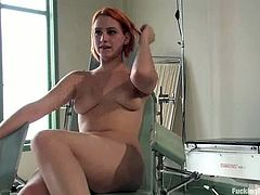 Hit play and see how the redhead Addie Juniper is fucked by sex devices while she's bound to a bed in a bondage session.