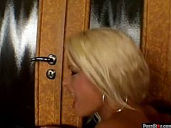 Full of erotic energy tanned blondie Stacy Silver enjoys a tough DP (MMF)