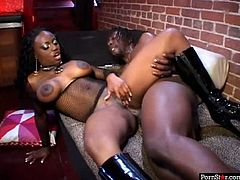 Dark-skinned temptress Jada Fire needs a big black cock to satisfy her hunger for sex. Black stud fucks her juicy muff sideways style. A few positions later he fucks her twat in missionary pose.