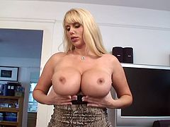 A blonde fucking mature woman with incredibly hot big-ass titties gets naked and fucking fingers her fucking snatch, check it out!