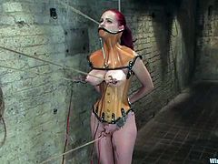 Busty redhead chick Mz Berlin gets bound by Princess Donna Dolore in a basement. Donna ties and torments Mz and then pulls her by the nipples and pounds her snatch with a dildo.