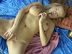 A gorgeous blonde slut gets naked and starts fondling her amazing hot figure in this solo scene right here, hit play and check it out!