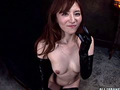 This sizzling and petite Japanese AV model is instructing her man what to do with her wet pussy! She gives him a nice head and then gets to be balled in a doggy style!