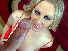 Sexy milf is really nasty and eager to suck deep during POV blowjob porn
