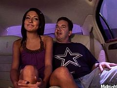 Talkative chick in violet dress gets out of limo and takes horny stud to the motel room. This slim bitch with small tits desires to rub his dick and take it into her pussy to be fucked missionary tough.