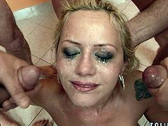 This blonde MILF is quite a talented cock sucker! Sex-starved trollop sucks one stiff dick after another until she gets a facial.