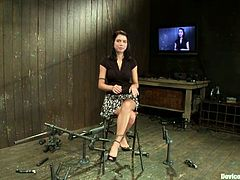 Adorable brunette Micah Moore gets shackled in some dark basement. Then some man rubs Micah's pussy with a toy and enjoys the way she moans.