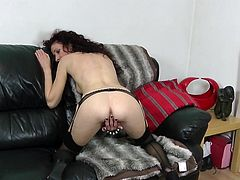 Scarlet gone wild with herself. She's all alone and makes herself really comfortable on her black couch. The bitch rubs her pussy in many different position and it's clear that this whore needs sexual satisfaction asap. Let's keep her some company and find out if she will get satisfied!