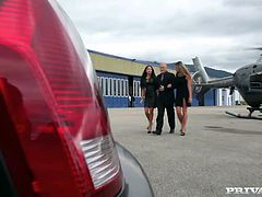 Sizzling bitches Anissa Kate and Eva Parcker are trying to satisfy some old bald dude in a car. They lick and suck his prick devotedly and moan sweetly with pleasure all the time.