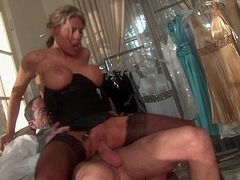 Charisma Cappelli is ready to take a big cock in her sweet mouth. Then she rides it like a real pro and her big jugs are bouncing!