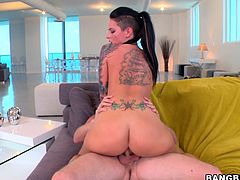 See the gorgeous tattooed pornstar Christy Mack sucking and riding cock in an anal sex session after showing her goods in the balcony.