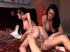 Jenna Presley and her best friend never miss an opportinity to host nasty threesomes. They switch turns to suck on his big cock and then also ride it for some orgasms!