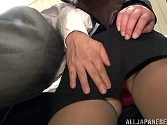 Nerdy Japanese milf allows some dude to feel her ass up. Then the man fucks the bitch's cunt with a dildo and fucks it deep and hard from behind.