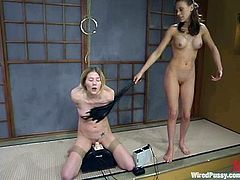 Anal toying in wicked BDSM lesbian session is what you will see in this video where a blonde is acting as a sex slave.