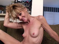 Check out this mature bitch as she strips and shoves fingers up that pink snatch of hers in this kinky-ass solo scene right here!