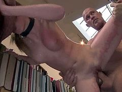 This deliciously hot blond angel loves some perversions in public! So she gets naked and acts dirty in the public library, where she gets fucked by a gang of four dudes.